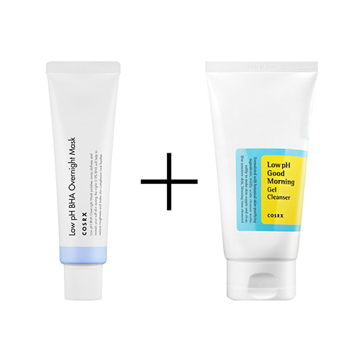 Cosrx Low PH BHA Overnight Mask 50ml + Cosrx Low pH Good Morning Gel Cleanser 150ml